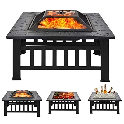 Merax Fire Pit with Grill Grate, Fire Bowl with Spark Protection for BBQ, Heating, Garden Patio Metal Fire Basket 3 in 1 Outdoor Fire Pit from Merax