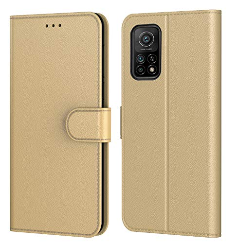 Tenphone Schutzhülle Mi 10T 5G, Schutzhülle Mi 10T Pro 5G, Schutzhülle aus PU-Leder, Magnetverschluss, mehrere Farben kompatibel für (Mi 10T / Mi 10T Pro 5G, Book Gold)