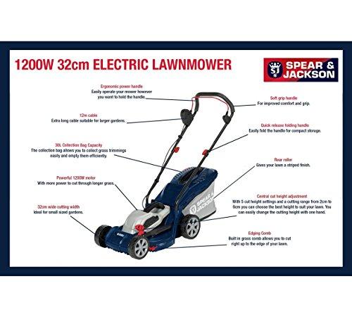 Spear & Jackson – 32cm Corded Rotary Lawnmower – 1200W