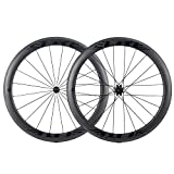 ELITEWHEELS 700c Clincher 50mm Carbon Wheelset 27 Width Carbon Road Cycling Wheels Tubeless Compatible Clincher