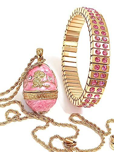 Holiday Deals - Collar de joyería con forma de huevo de Faberge, color rosa, regalo de cumpleaños para mujer, collar de diamantes de Swarovski + brazalete de oro de 24 quilates, hecho a mano para
