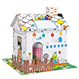 """Youwo Country Cottage Cardboard Coloring Play House for Kids, Art & Craft for Indoor Fun, Vibrant Exterior Artwork (12.9"""" H x 9.4"""" W x 11.8"""" L"""