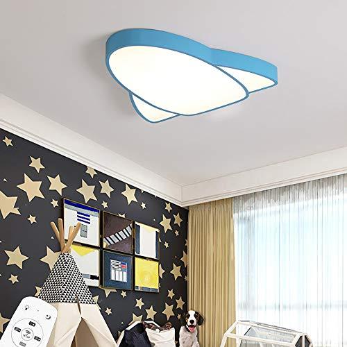 LED Regulable Lámpara de techo con Control Remoto Niño Dormitorio Plafon de techo Creatividad Azul Aeronave Diseño Lámpara para Niña Cuarto de los Niños Jardín de Infancia Sala de Estar 39W D42CM