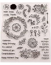 طوابع زهور ديزي أوراق حروف من المطاط الشفاف لصنع بطاقات سجل القصاصات 210 * 240 مم (8.3 * 9.5 بوصة) 19081201