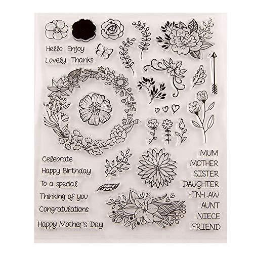 Transparente Gummistempel mit Aufschrift 'Happy Birthday Mom Day Love Buchstaben, Gänseblümchen, Blätter, für Scrapbooking, Kartengestaltung, Geburtstag, 21,6 x 24,1 cm