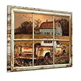 Drawpro Rustic Old Barn Wall Art Beautiful Barn And Rustic Truck At Sunset Through Wooden Window Frame Wall Art For Farmhouse Decor Modern House Wall Art Canvas Art 16x20 Inch