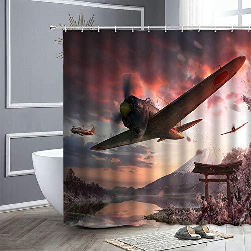 LIFUSHA Badezimmer Dekor Flugzeug Drucken Duschvorhänge Ozean Boot Schnee Berg Landschaft Wasserdicht Home Badezimmer Vorhang Badewanne Dekor Bad Display-B150cmxH180cm