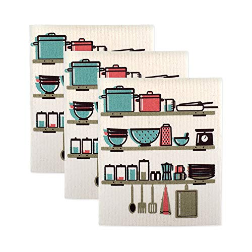 DII Swedish Dishcloth Set Cleaning Collection, 7.75 x 6.75, Utensils 3 Count