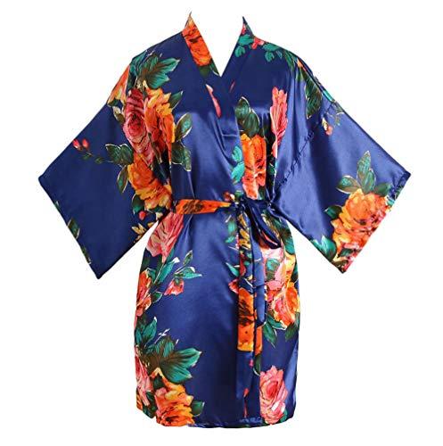 DELEY Abito Corto Floreale Kimono Robe Abito da Notte Abiti da Sposa Sposa da Damigella d'Onore Festa Camicia da Notte Marina Militare