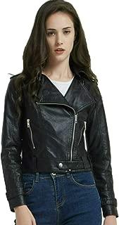 Moto Biker Short Coat Jacket Zip Up Faux Leather PU Jacket with Pocket for Women