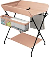GOHHK Foldable Baby Changing Table Diaper Station for Small Spaces with Storage, Nursery Massage Station Dresser for Infant Cross Leg Style (Color : Khaki)