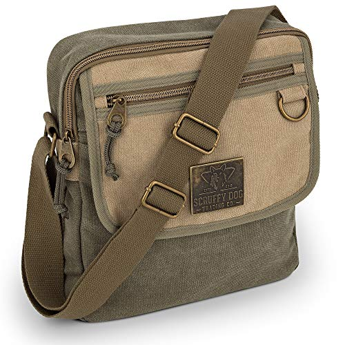 Small Messenger Bag for Men and Women with Adjustable Strap - 11 inch, Khaki