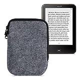 kwmobile Funda Universal Compatible con E-Book - Estuche de Fieltro con Cremallera para Libro electrónico - Carcasa en Gris Claro