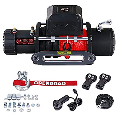 13000 lbs Electric Winch, 12V Revovery for Jeep,SUV and Truck, Winch Kit with Red Synthetic Rope,Wireless Remote Control,Aluminum Fairlead and Handle Wire Remote Control