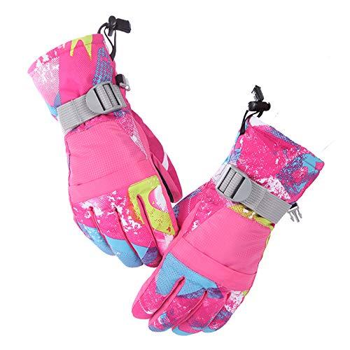 Yefun Guantes de Invierno Hombre Mujer Niño Antideslizante Calientes a Prueba del Viento Guantes Guantes de Ski Snowboard para el Clima Frío de Pantalla Táctil Diseño(Rosa ROJA,M,Mujer)