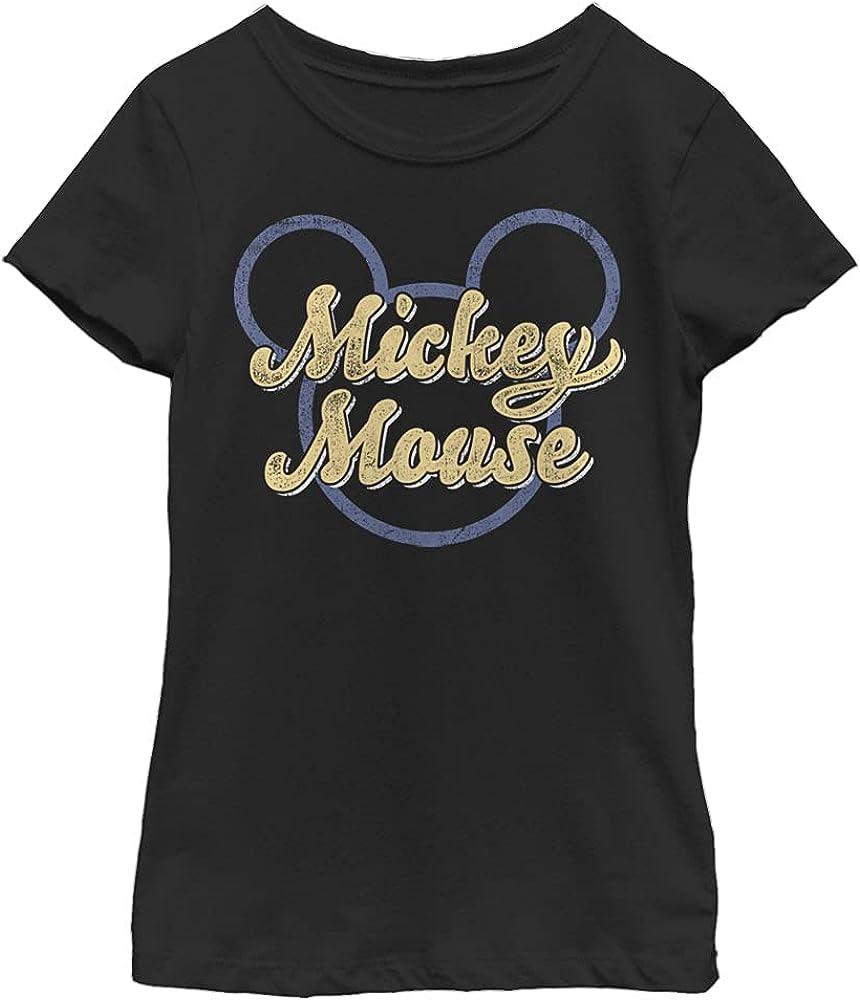 Disney Characters Mickey Script Girl's Solid Crew Tee