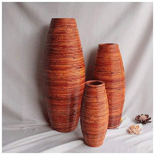 Ykun Vaso in Rattan, Vaso in Rattan, Vaso da Pavimento Intrecciato, Arredamento Soggiorno Decorazione Finestra-Rosso Arancio Altezza 100 cm