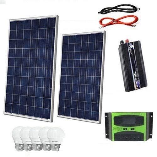 Kit Fotovoltaico 2 KW Pwm Inverter 2000W Pannello Solare 200W regolatore 30 amp 5 lampadine 6 WATT