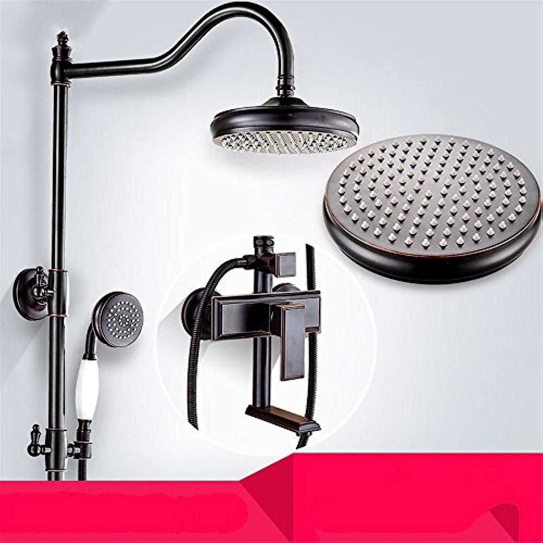 Wasserhhne Warmes und kaltes Wasser groe Qualitt Retro Schwarz voller Kupfer Warmes und kaltes Wasser in der Dusche Dusche Duschkpfe und Handduschen mit Anheben Dusche System Tippen