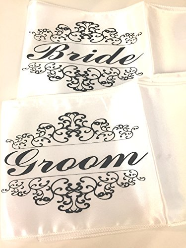 Bride & Groom White Satin Wedding Reception Chair Sashes 2 Pc Set