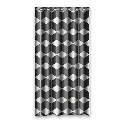Wild costumes 90 cm X183 cm (91,4 x 182,9 cm) Vorhang für die Dusche, Bad Vorhang Cube Lattice Custom Schwarz & Weiß Farbe, Badezimmer Wasserdicht Vorhang, Polyester, I, 36