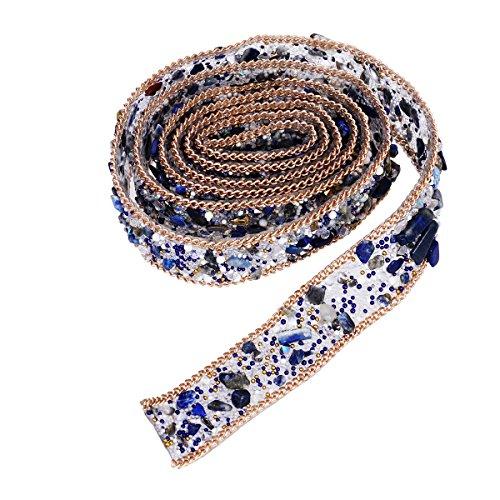 Healifty 1 Metros Rhinestone de cristal y perla con cuentas Apliques de encaje Cinta de Bling Costura en el adorno para el vestido Sash Cinturón DIY Sombreros Bolsas Zapatos Adornos 2pcs (azul)
