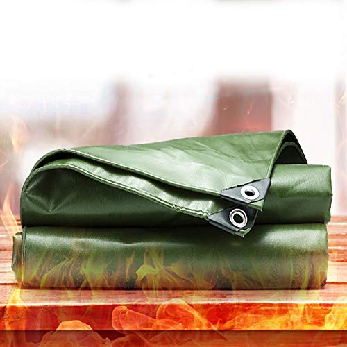 MAHFEI Feuerhemmende Plane Feuerfest Plane Gewebeplane Wasserdicht Abdeckplane Mit Öse Reißfestigkeit UV-beständig Für Auto Boot Camping (Color : Green, Size : 9.7x9.7m)
