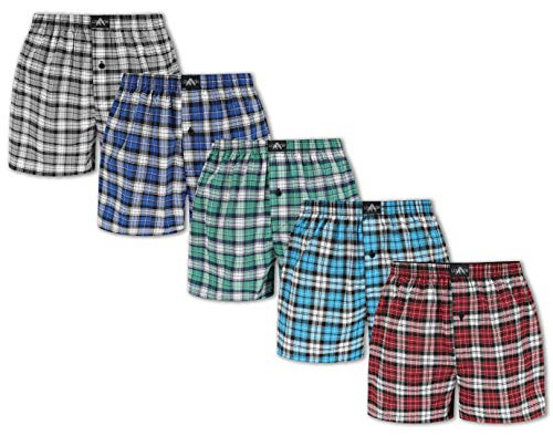 FM London 5er Pack Herren Woven Boxershorts, Mehrfarbig (Classic Assorted 10), Large