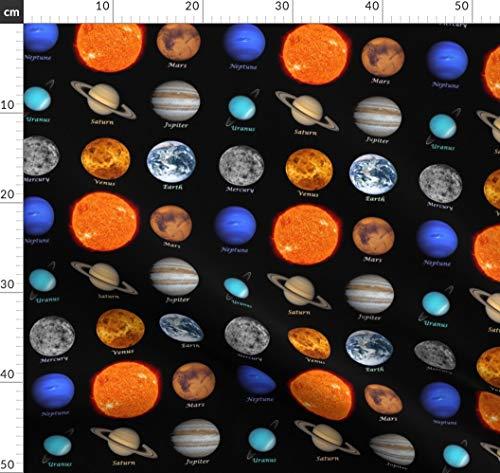 Sonnensystem, Planeten, Astronomie, Weltraum, Weltall, Stoffe - Individuell Bedruckt von Spoonflower - Design von Thinlinetextiles Gedruckt auf Seidenimitat Crêpe de Chine