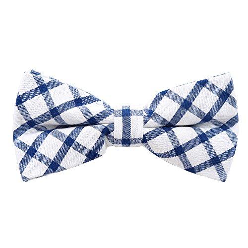 DonDon Noeud papillon à carreaux en coton pour homme 12 x 6 cm avec crochet déjà lié et réglable - Blanc-bleu foncé