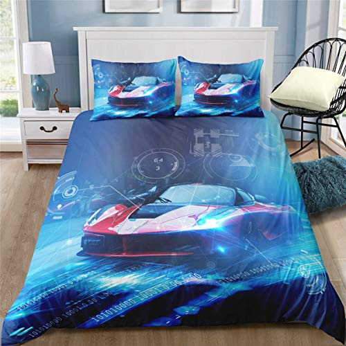 Helehome Kids Duvet Cover Sets Boys Bedding Sets Race Car Sport Bedding Set with Zipper Closure and 2 Piece Brushed Microfiber Fabric Print,Twin Size