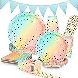 Herefun Partygeschirr Geburtstag, 122 Pcs 24 Gäste Party Geschirr Set, Pappteller Kindergeburtstag Mädchen Junge , Pappteller Pastell Servietten für Party Tafeldeko Geburtstag Hochzeit, Baby Shower