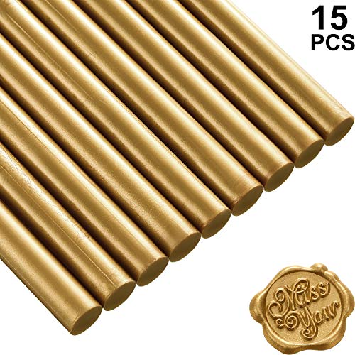 Nuanchu 15 Pieces Glue Gun Sealing Wax Sticks for Retro Vintage Wax Seal Stamp and Letter, Great for Wedding Invitations, Cards Envelopes, Snail Mails, Wine Packages, Gift Wrapping (Bronze)