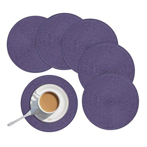 Round PlacematsHomcomoda Round Placemats for Kitchen Table PP Woven Heat Insulation Round Table Mats Set of 6-134Inch Purple