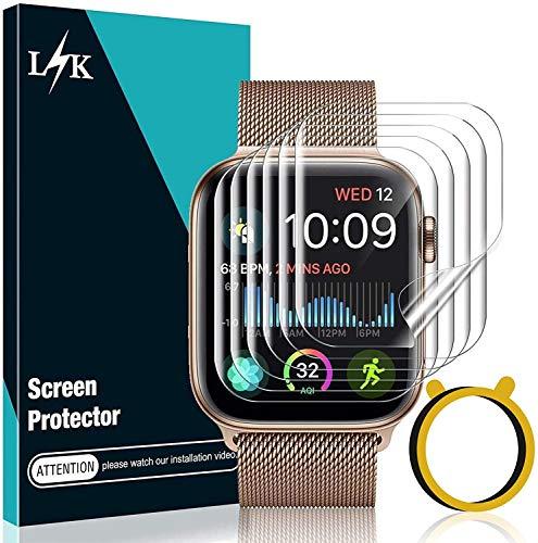 LϟK 6 Pack Protector de Pantalla para Apple Watch 44mm Series 6 5 4 SE - HD Película de TPU Flexible Sin Burbujas Funda Compatible Sin Bordes Elevados Instalación Fácil - iWatch 44mm Series 6 5 4 SE