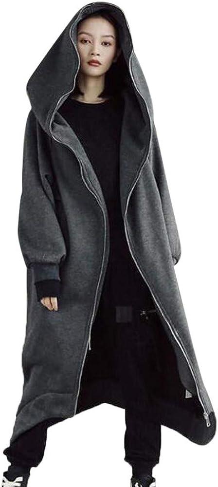 LISTHA Zipper Hoodie Long Coat Women Open Front Outwear Sweatshirt Warm Jacket