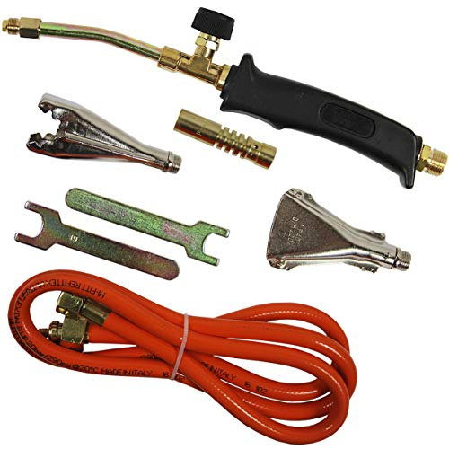 HELO Handlötgerät Set 4tlg. mit Flammenregulierung, ergonomischem Handgriff, 2 kW Leistung, 140 g/h Verbrauch, Lötbrenner inkl. Turbobrenner, Breitbrenner, Lötaufsatz, Gasschlauch und 2 Maulschlüssel