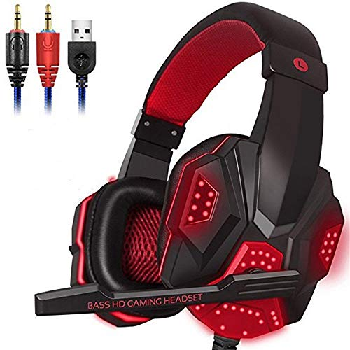 MAIEY Nouveau Head-Mounted stéréo Casque PC omnidirectionnelle Gaming Headset avec Noise Canceling Mic et RGB LED for PC de Bureau et compatibilité Mobile (Color : Rouge)