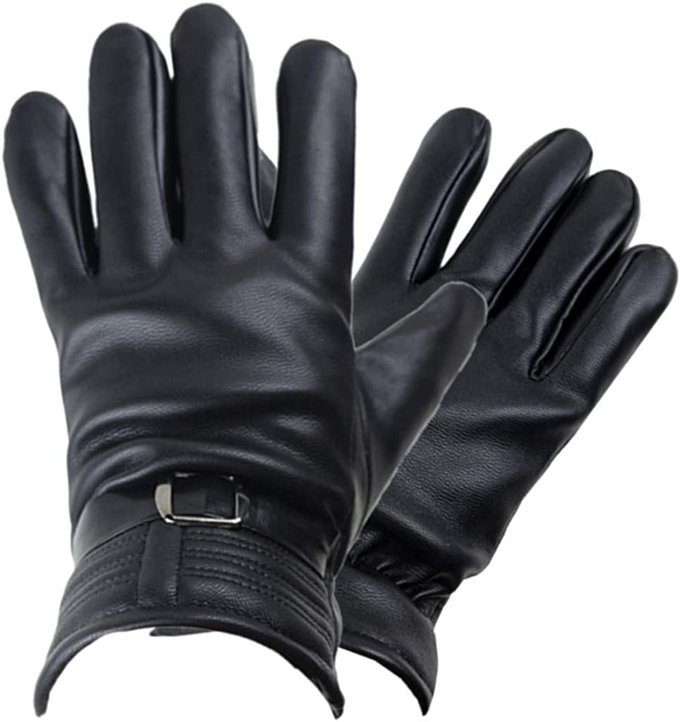 Mens Winter Gloves Thick Fleece Lined Warm Windproof, Waterproof Black Leather Glove Cold Weather