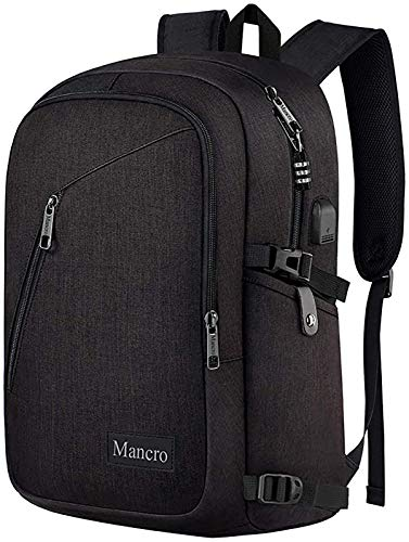 Mancro Business Travel Laptop Backpack, Anti Theft Slim Laptop Bookbag with USB Charging Port for men and women, Water Resistant College School Computer Bag Fits 15.6 Inch Laptop and Notebook (Black)