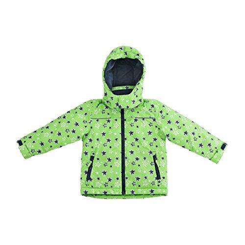 Pocopiano Kleinkinder Jungen Schneejacke Regenjacke Winterjacke Freizeitjacke Warm Wattiert (74/80, Grün mit Sternen)