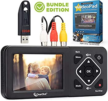ClearClick Video to Digital Converter 2.0  Second Generation  - Record Video from VCR s VHS Tapes AV RCA Hi8 Camcorder DVD Gaming Systems  Bundle Edition