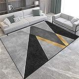 Alfombras Alfombra Comedor Alfombra Lavable con diseño geométrico Gris Negro Amarillo fácil de Limpiar alfombras oficinas Alfombra de Pelo 160X230CM