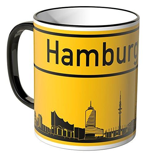 WANDKINGS® Tasse, Skyline Hamburg - SCHWARZ