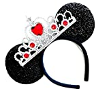 MeeTHan Princess Tiara Crown Sparkling Sequin Cat Mouse Ears Headbands Hair pieces: M6 (Black-Red-L)