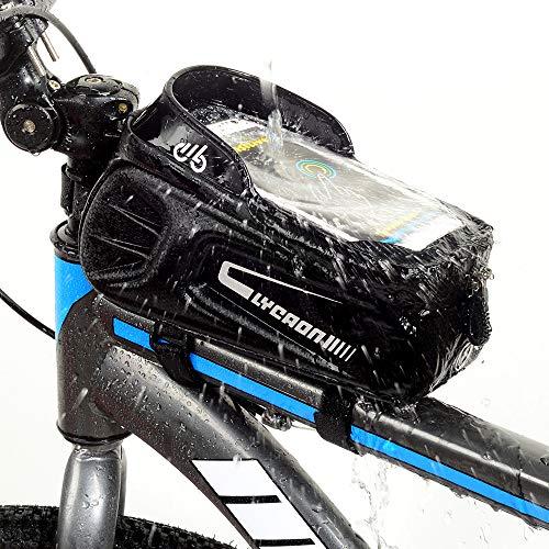LYCAON Bolsa para el Cuadro de la Bicicleta, Funda para el teléfono móvil con Ventana de Pantalla táctil, para iPhone, Samsung, Huawei, Smart Phone