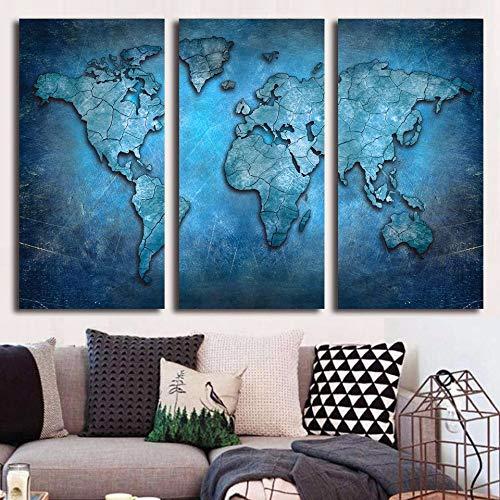 WSNDGWS Decoración para el hogar Lienzo Mapa del Mundo Pintura en Aerosol Lienzo Sin Marco de Imagen C2 30x40cmx3