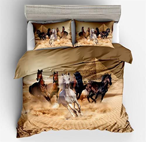 HNHDDZ Bettwäsche 3D Laufendes Pferd Landschaft Wüste Schnee Wiese Drucken Polyester Bettbezug mit Reißverschluss Weich Atmungsaktiv (Pferd 5,Bettbezug 155x220 cm + 2 Kissenbezug 80x80 cm)
