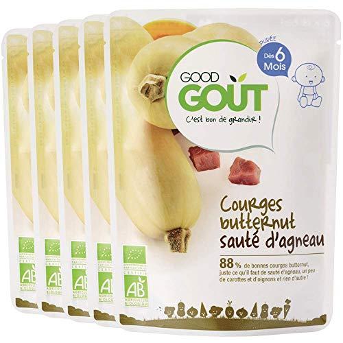 Good Goût - BIO - Courges butternut sauté d'agneau dès 6 mois 190 g - Lot de 5