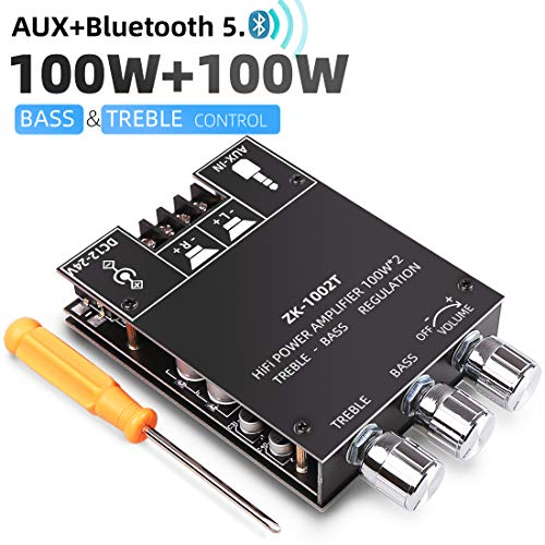 OWAYKEY Bluetooth 100W+100W Amplifier Board with Treble and Bass Control, DC 9-24V, BT and AUX Inputs, 2.0 Channel Stereo AMP Board for DIY Wireless Speakers